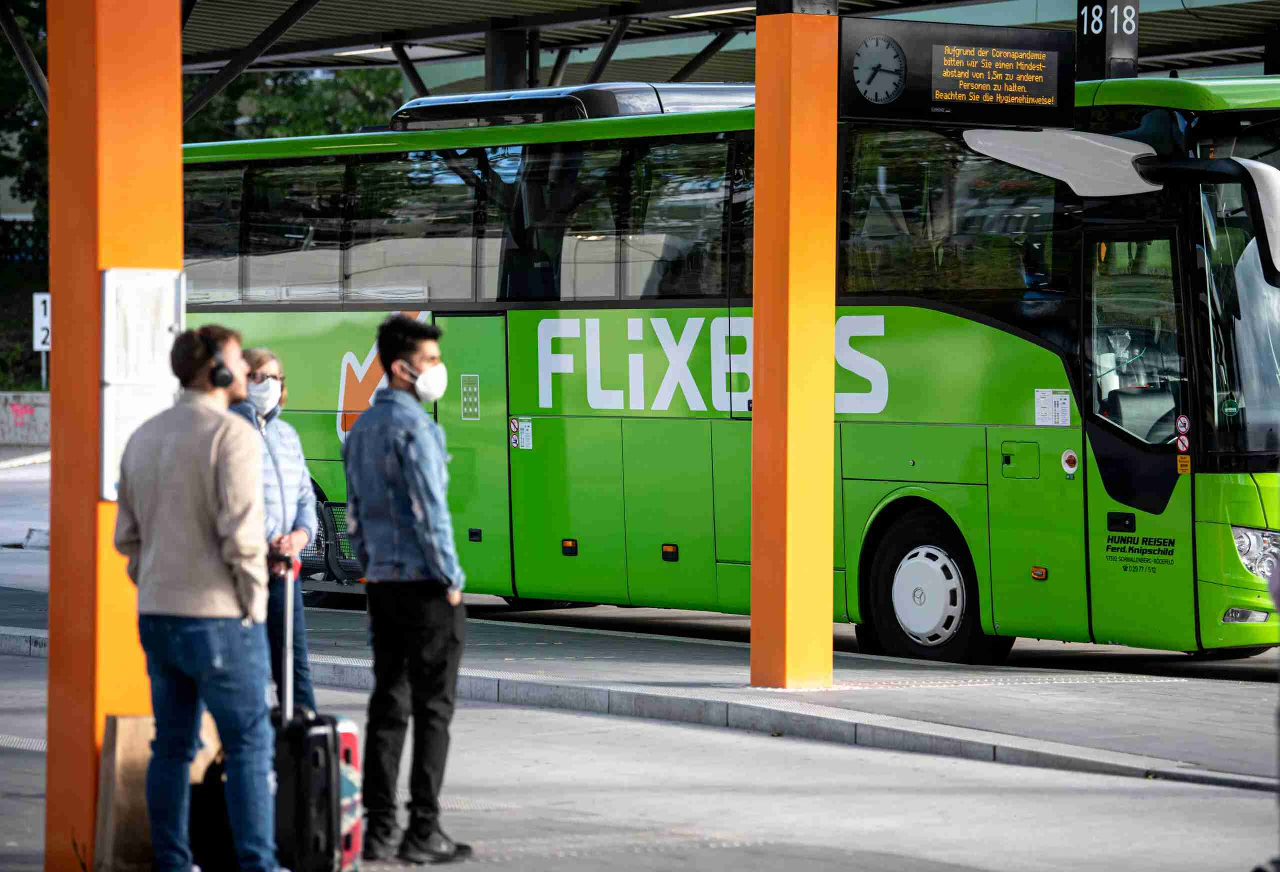 28 May 2020, Berlin: A Flixbus is located in the central bus station in Berlin. After a good two months of corona standstill, buses of the provider Flixbus will again be operating on inner-German routes from Thursday onwards. Photo: Fabian Sommer/dpa (Photo by Fabian Sommer/picture alliance via Getty Images)