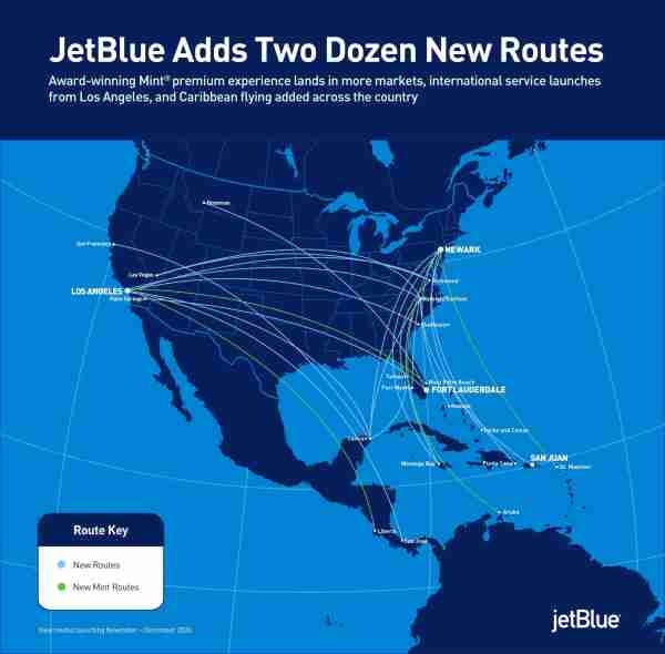 JetBlue will add 24 new routes to its map in November and December. (Image courtesy of JetBlue Airways)