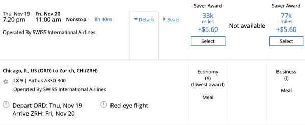 ORD ZRH Pricing United Swiss
