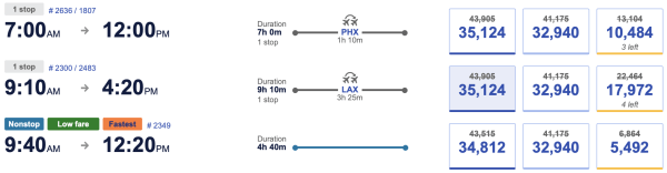 Southwest Flight Options with Discount Applied