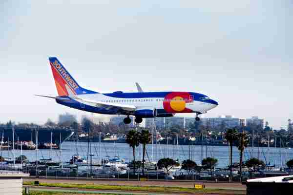 A Southwest Airlines jet wearing a special Colorado livery approaches San Diego's Lindbergh Field.  (Photo by Dünzl/ullstein bild via Getty Images)