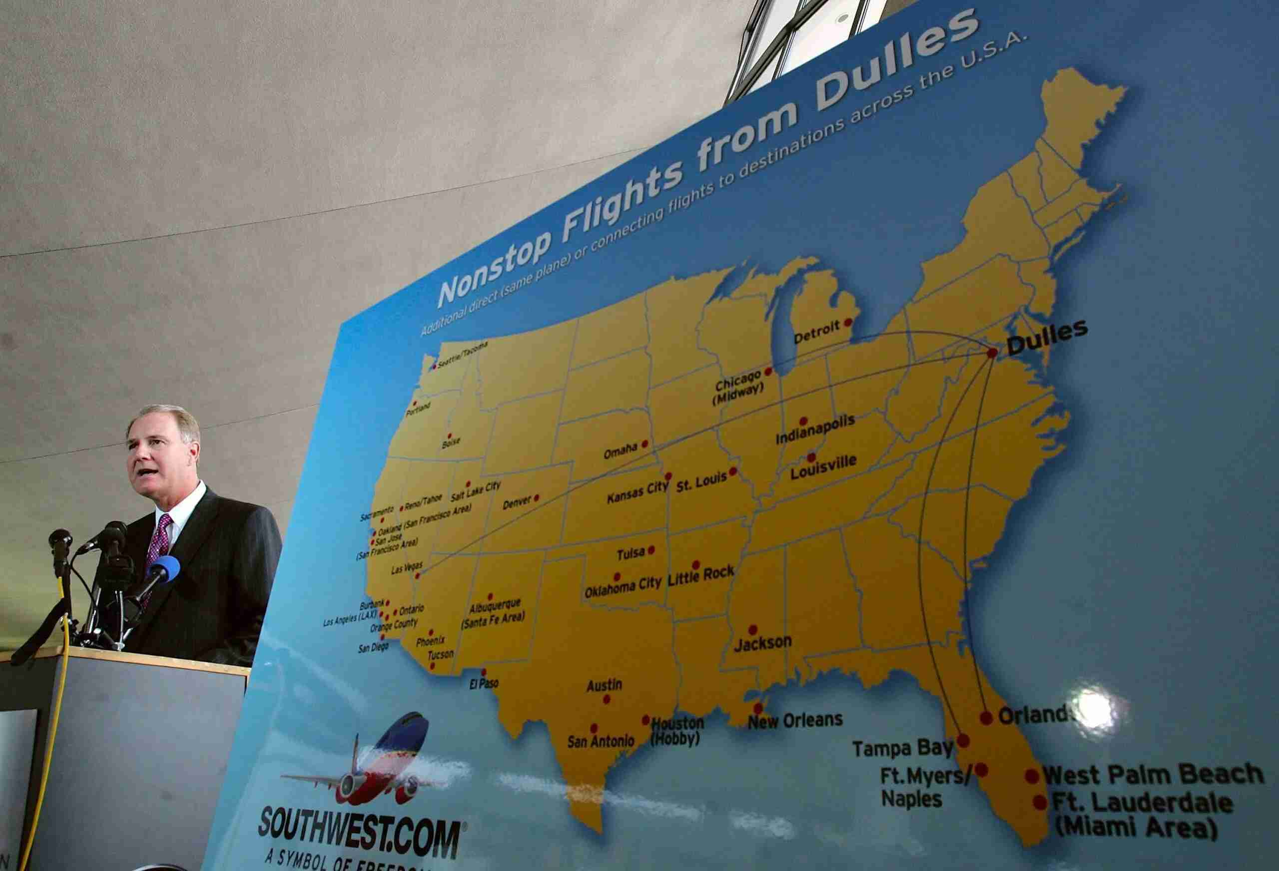 This file photo from July 13, 2006, shows Southwest CEO Gary Kelly announcing new routes from Washington Dulles International Airport. (Photo by Win McNamee/Getty Images)