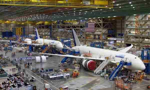 EVERETT, WASHINGTON  - JUNE 13:  Boeing 787 Dreamliners sit on the assembly line is pictured June 13, 2012 at the Boeing Factory in Everett, Washington. (Photo by Stephen Brashear/Getty Images)