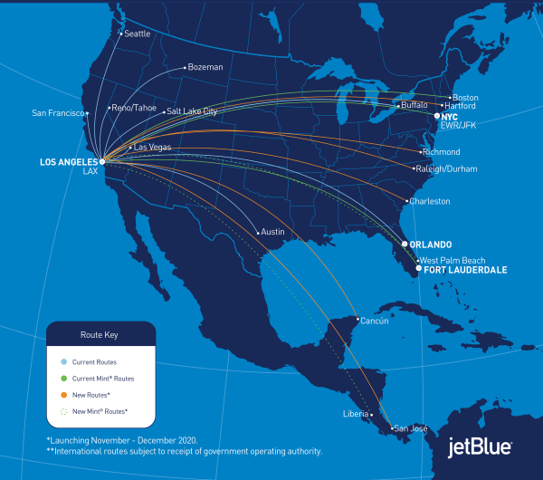 JetBlue routes from your new LAX base.  (Image courtesy of JetBlue)
