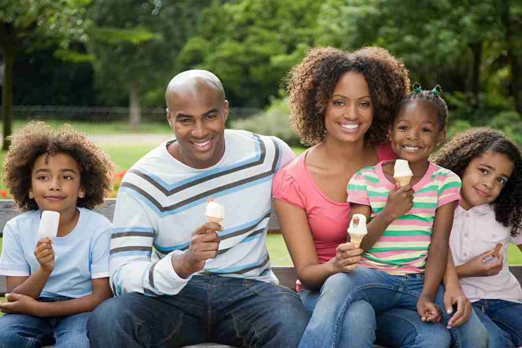 family eating ice cream