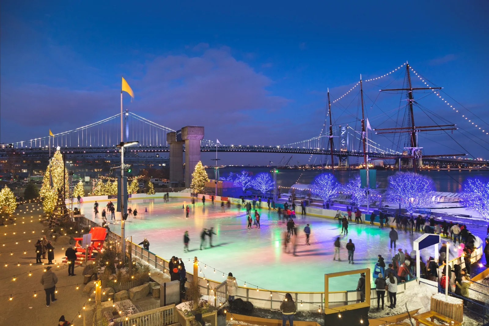 Ice Skaters at RiverRink at Winterfest at Penns Landing, Philadelphia, Pennsylvania. (Photo via Getty Images)
