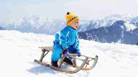 toddler sledding