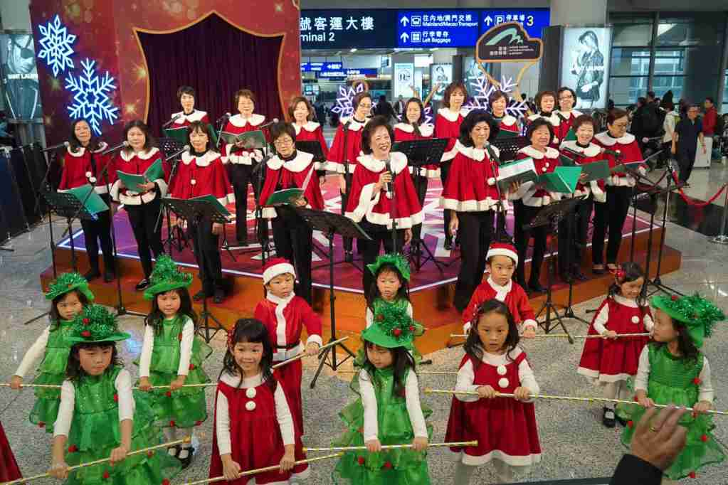 Hong Kong airport at Christmas