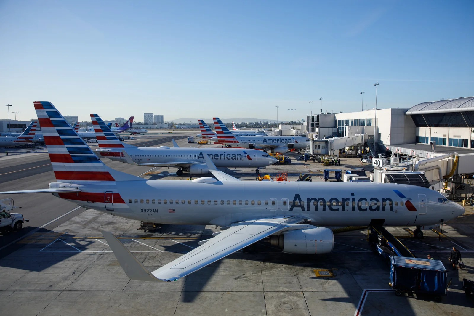 American Airlines planes at LAX. (Photo by Patrick T. Fallon/The Points Guy)