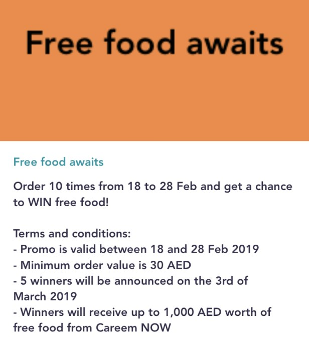 careemnow careem now free food offer February 2019 dubai uae