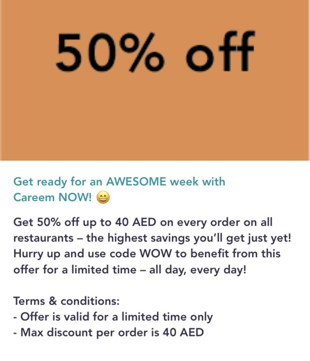 careemnow careem now promo code food delivery app order Dubai uae