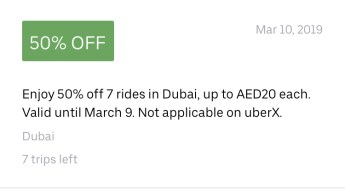 uber promo code discount offer coupon deal Dubai uae