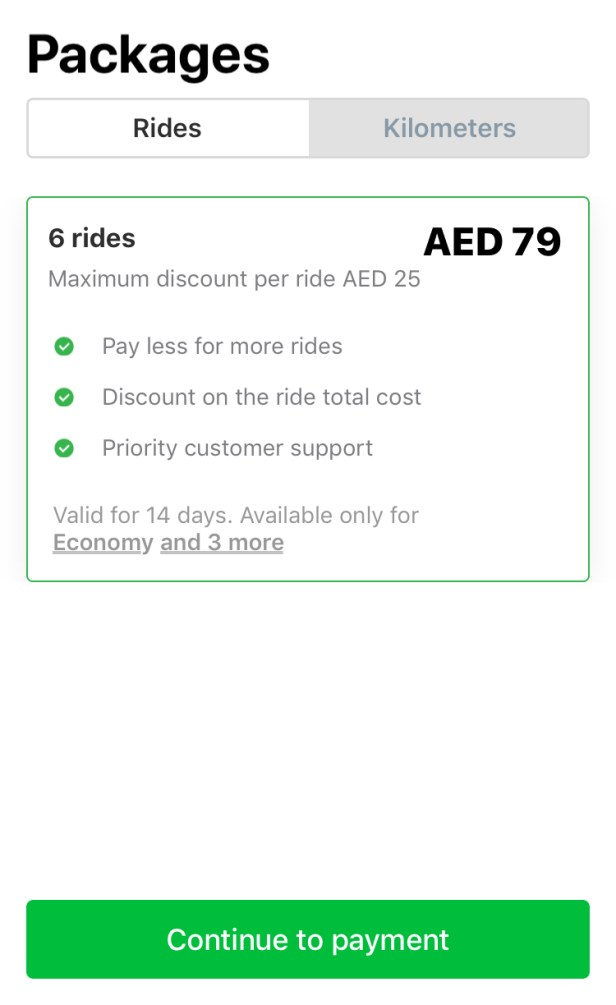 careem package packages rides dubai Abu Dhabi deal uae