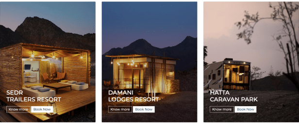 hatta wadi resorts stay night sedr damani caravan park