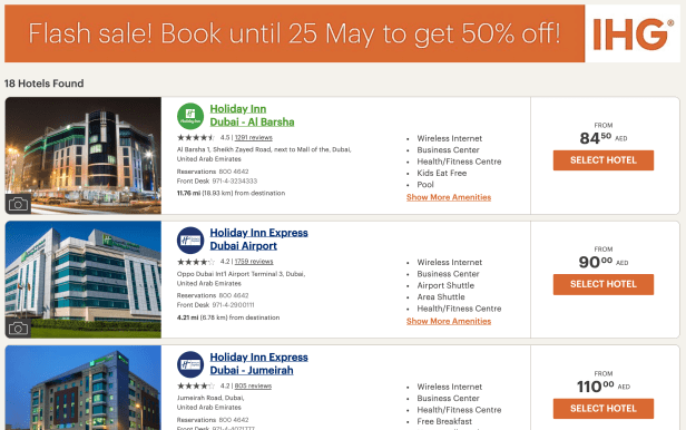 ihg flash sale imea india middle east africa dubai abu dhabi fujairah uae  2019