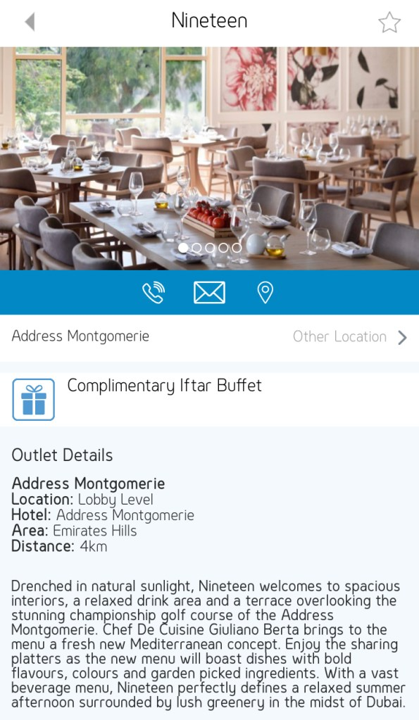 gems rewards app free iftar buffet nineteen address Montgomerie Dubai UAE