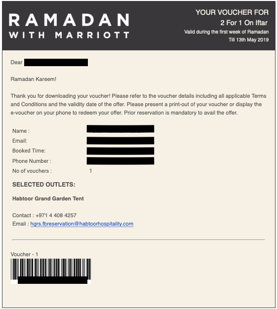 ramadan with marriott 2 for 1 iftar suhoor voucher habtoor grand resort autograph collection bonvoy points dubai uae