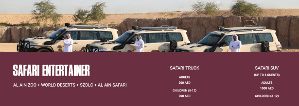 al ain zoo safari entertainer ticket entry admission united arab emirates uae