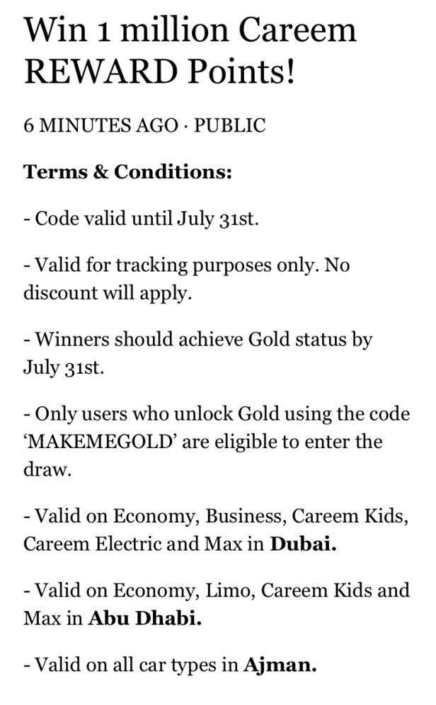 careem gold 1 million reward points makemegold unlock draw eligible july 2019 dubai abu dhabi uae