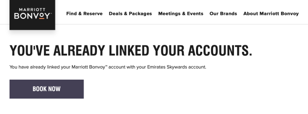 emirates skywards marriott bonvoy partnership register link linked accounts world rewards july 2019