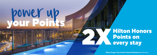 hilton honors hhonors power up double triple points global promo promotion 2x 3x stays stay september 2019 january 2020 credit card american express visa classic aspire surpass business dkb german sumitomo mitsui cards