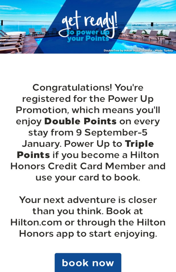 hilton honors hhonors double points triple points powerup powerup registration register credit card amex visa american express