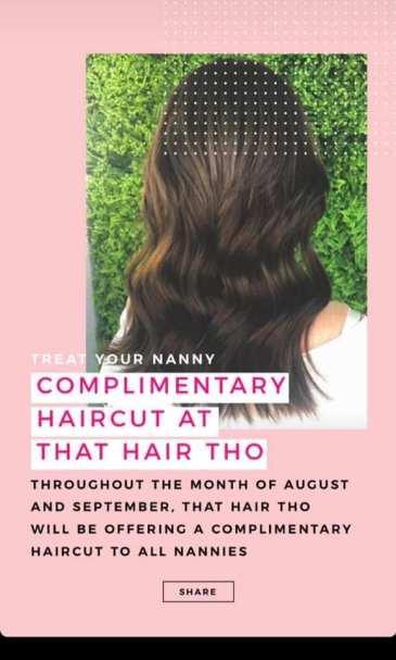 that hair tho free complimentary haircut hair cut nanny nannies jumeirah lake towers jlt cluster n dome dubai uae united arab emirates