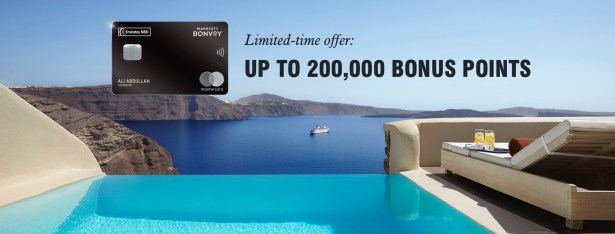 emiratesnbd bank marriott bonvoy welcome bonus 200,000 points dubai uae thepointshabibi offer october november 2019