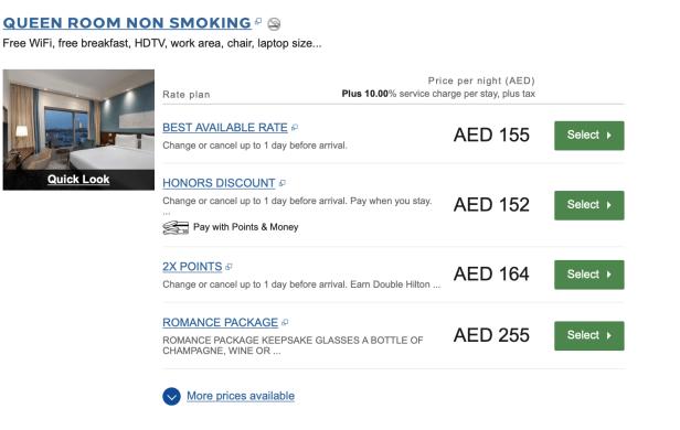 standard room type honors cash rates points award night united arab emirates uae thepointshabibi