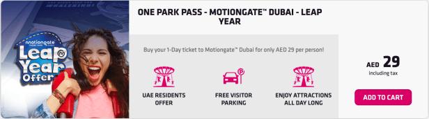dubai parks and resorts leap year offer deal AED 29 uae residents emiratesid  motiongate theme park united arab emirates thepointshabibi