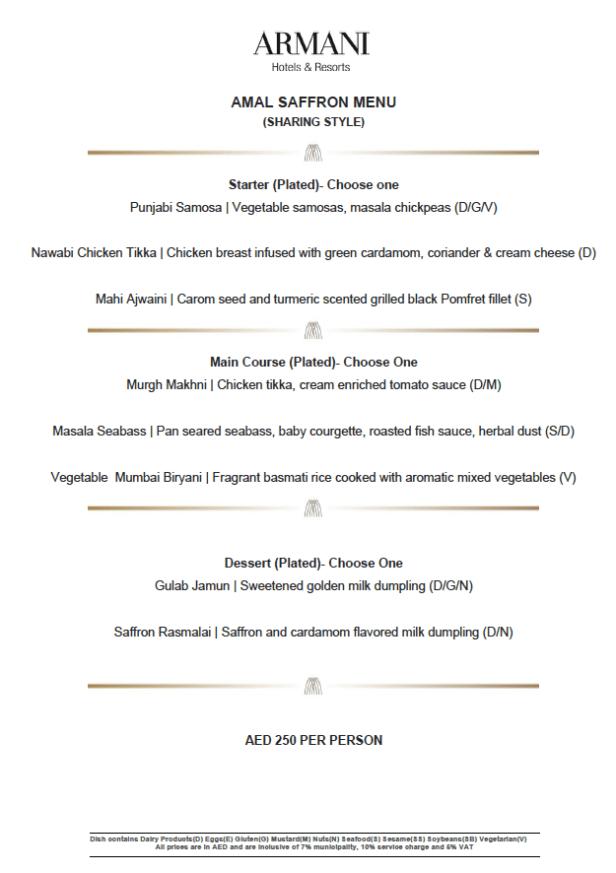 dubai restaurant week 2021 armani amal dinner set menu united arab emirates burj khalifa visit restaurant menus uae the points habibi thepointshabibi