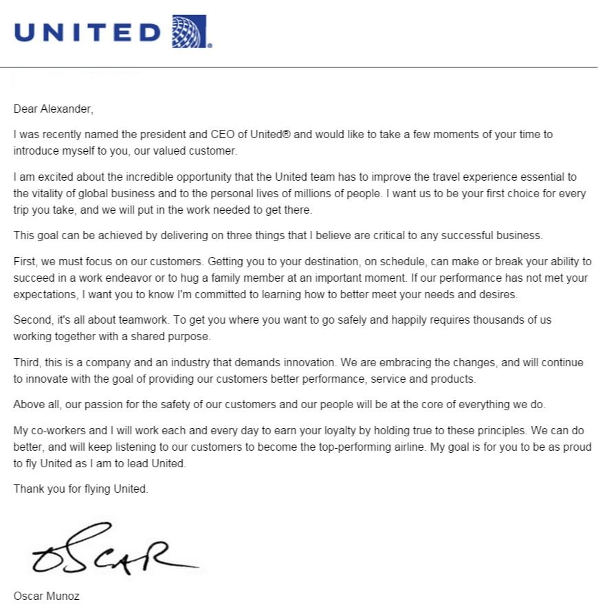 My Response to United CEO Munozs Letter to Me