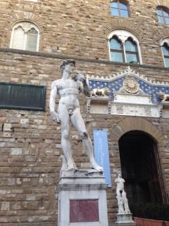 David replica outside the Uffizi Gallery in Florence