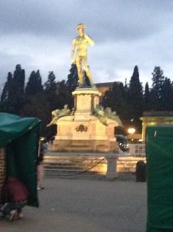 Another bronze replica of David atop the Plazza Michelangelo