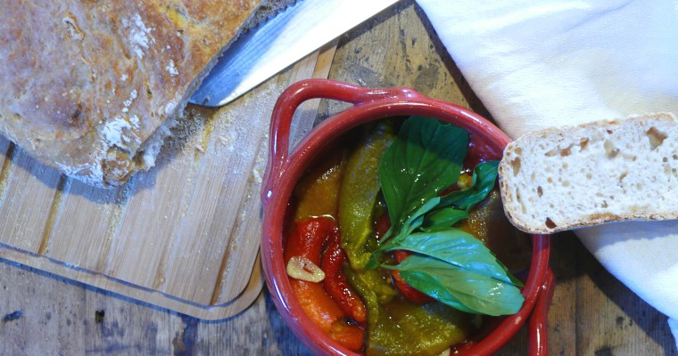 Roasted bell peppers marinated with vinegar, garlic, basil and extra virgin olive oil