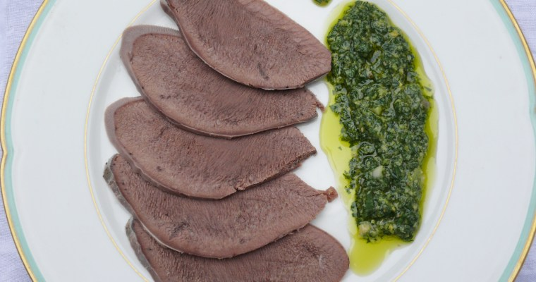 Boiled ox tongue with green parsley sauce