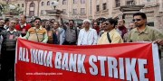 Protesting merger of Vijaya Bank, Dena Bank with BoB, Bank employees go on strike