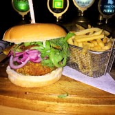 Haddock Burger with Dill and Pickled Red Onions