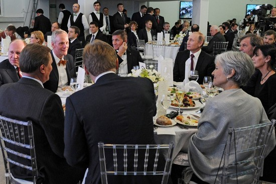 Flynn, center left, sits next to Russian President Vladimir Putin at an event last year to mark the Kremlin-controlled RT television network's 10th anniversary. Alexey Gromov, Russian politician (first deputy chief of staff) Cyril Svoboda, Czech politician Michael Flynn Vladimir Putin Emir Kusturica, Serb film director Maja Mandić, Emir Kusturica's wife (not shown in picture due to angle) Willy Wimmer, German politician Jill Stein (back) Dmitry Peskov (Putin's press secretary) (back) Sergei Ivanov, Russian politican (Putin's chief of staff)