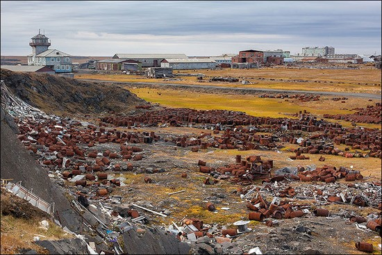 Rotting junk - some toxic, and much of it from the Soviet era - blights the vast Arctic terrain in northern Russia.