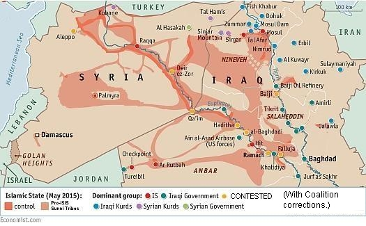 ", The Economist: ""Caliphate Strikes Back."" The Coalition corrects Iraq map, surrounds Mosul, The Politicus"