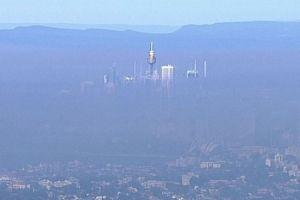 Sydney skyline blanketed in wildfire smoke.