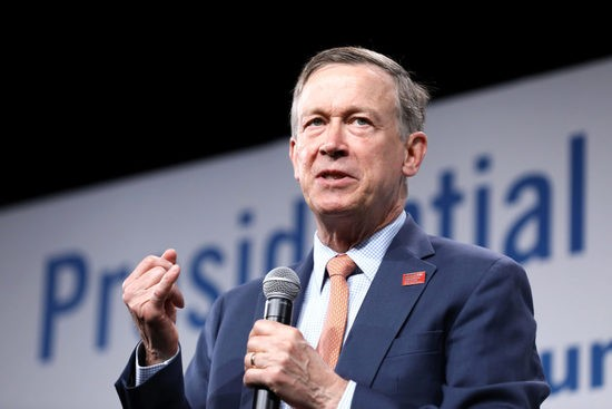 2020 Democratic U.S. presidential candidate former Colorado Governor John Hickenlooper speaks during the Presidential Gun Sense Forum in Des Moines, Iowa, U.S., August 10, 2019. REUTERS/Scott Morgan