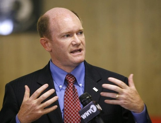 Chris Coons gestures as he speaks during a campaign event in Newark, Delaware October 29, 2010. REUTERS/Tim Shaffer