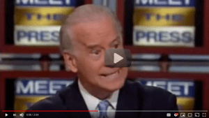 Turn on images to see a frame from the video showing Joe Biden saying he'll cut Social Security -- and Elizabeth Warren fighting to expand it.