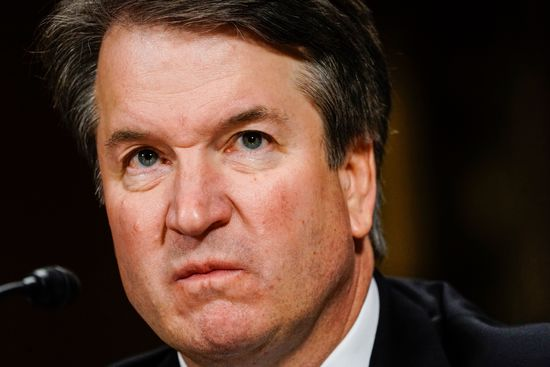 """Supreme court nominee Brett Kavanaugh testifies before the Senate Judiciary Committee on Capitol Hill in Washington, DC on September 27, 2018. - University professor Christine Blasey Ford, 51, told a tense Senate Judiciary Committee hearing that could make or break Kavanaugh's nomination she was """"100 percent"""" certain he was the assailant and it was """"absolutely not"""" a case of mistaken identify. (Photo by Melina Mara / POOL / AFP) (Photo credit should read MELINA MARA/AFP/Getty Images)"""