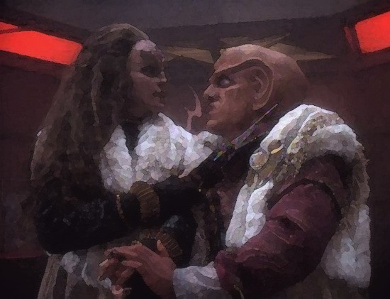 Grilka (Mary Kay Adams, left) encourages Quark (Armin Shimerman) to appear before the Klingon High Council in an episode of Star Trek: Deep Space Nine.