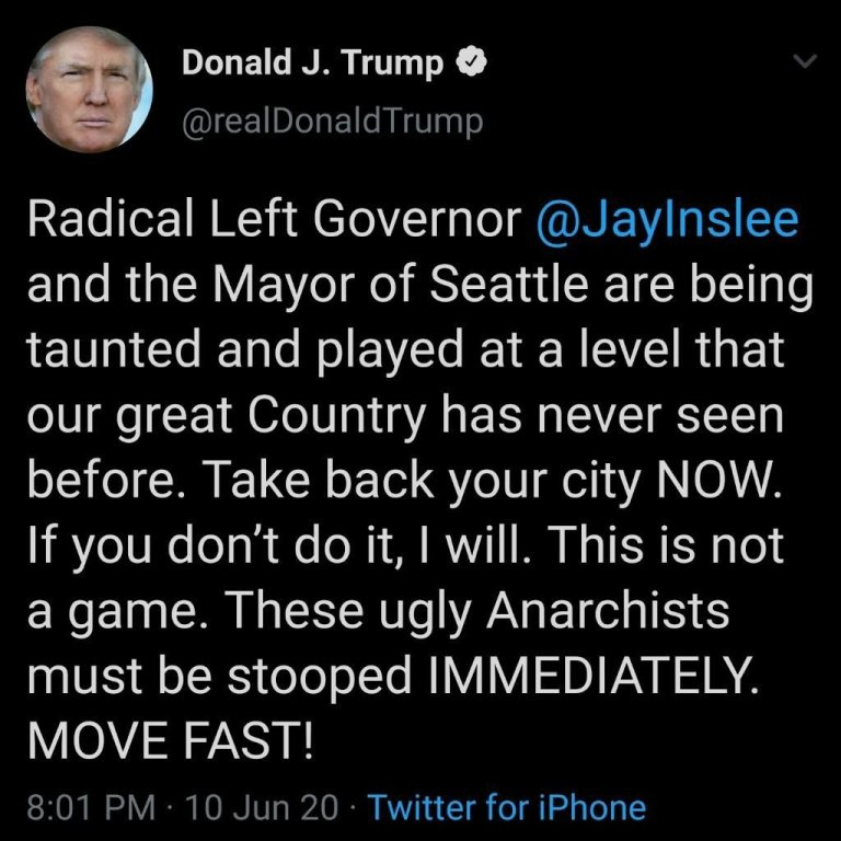 """""""domestic terrorists run by 'radical left Democrats' have taken over Seattle"""", STOOP THEM!"""