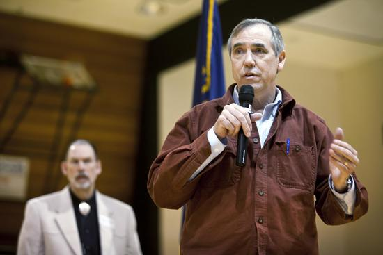 Sen. Jeff Merkley answers questions from community members who gathered at Umpqua Community College in Roseburg for a town hall meeting, Saturday, March 25, 2017.