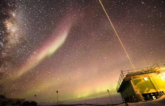 Lidar shooting into the Antarctic night sky, Arrival Heights Observatory.